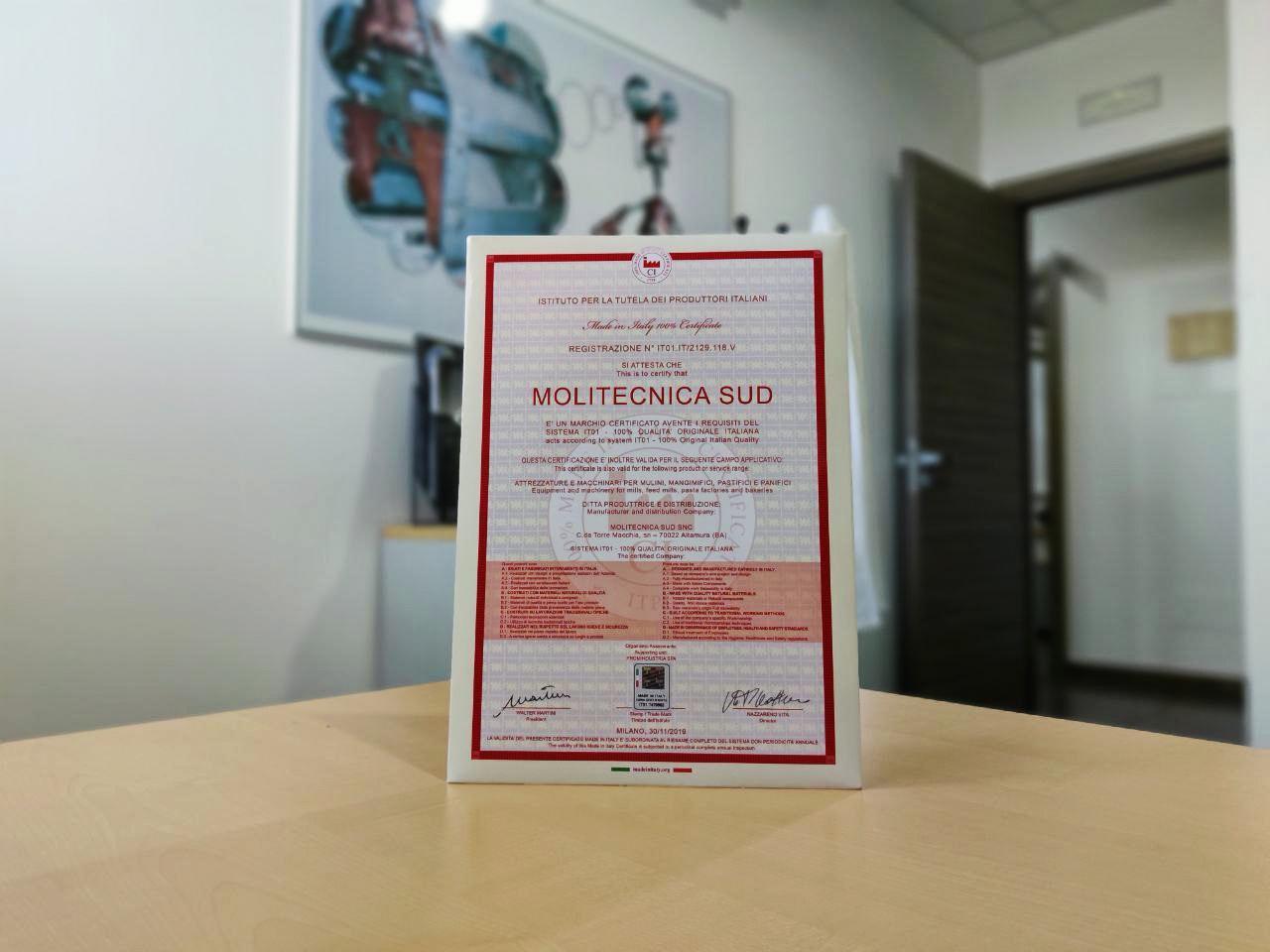 MOLITECNICA SUD CERTIFIÉE MADE IN ITALY 100%